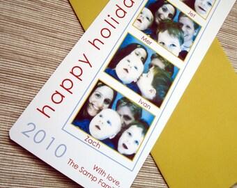 Photobooth Christmas Card Custom Film Strip Family Children Holiday Greeting Bookmark - DESIGN FEE