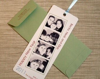 Photobooth Holiday Card - Film Strip Bookmark Style Happy New Year Greeting - DESIGN FEE