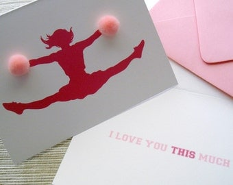 "Cheerleader Silhouette with Pom Poms - ""I love you this much"" Greeting Card"