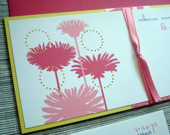 Floral Wedding Invitations with Dahlia and Billy Balls in Pink and Yellow - DESIGN FEE
