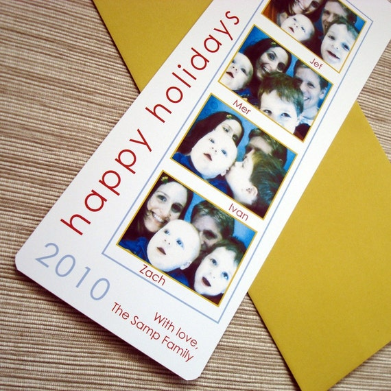 Photobooth Christmas Card Custom Film Strip Family Children Holiday Greeting Bookmark - DESIGN FEE