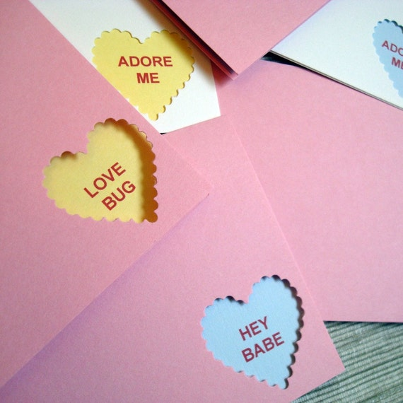Conversation Heart Candy Greeting Cards - SET of 3