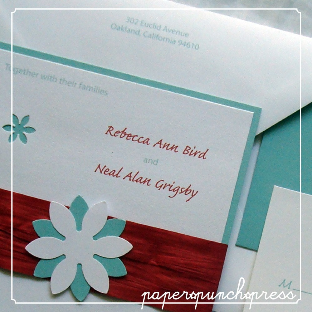 Red and Turquoise Daisy Motif Wedding Invitation Ensemble