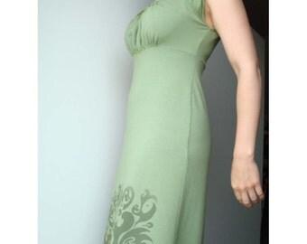 Little Miss Sleeveless Bamboo Dress . Moss Green w/ Print