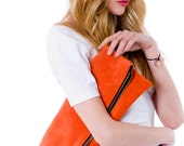 LAST ONE ready to ship Leather portfolio clutch Tangerine Orange