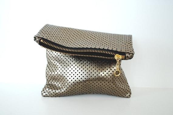 Leather mini clutch in antique gold