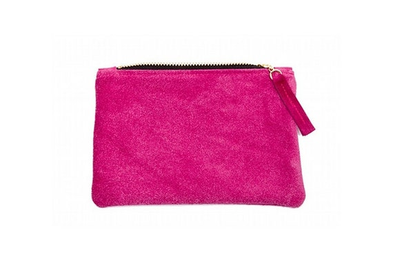 SALE Soft and simple leather pouch Fuchsia Ready to ship