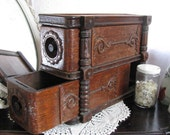 TreaSuRy ITeM x 4 - Pair Vintage Drawers and Frame from Treadle Sewing Machine - Shabby Farmhouse Cottage