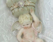 Treasury Item - Vintage Putti Cherub Porcelain Wall Pocket Barbola Roses Paris French Apartment Cottage Chic