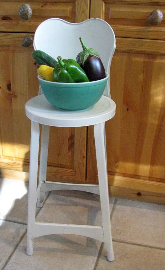 Metal Kitchen Chair Stool Vintage Shabby Farmhouse Cottage
