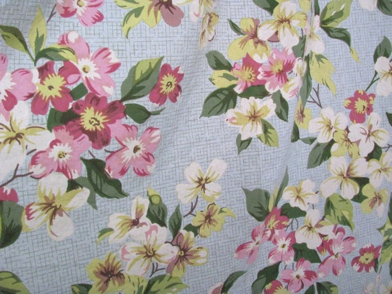 RESERVED for BETSY - Treasury Item-Pink Dogwood Floral Cotton Fabric Yardage - Reclaimed Bed Linens Shabby Cottage