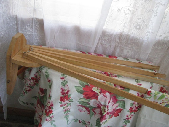 Vintage Wood Wall Clothes Drying Rack - French Farmhouse Kitchen