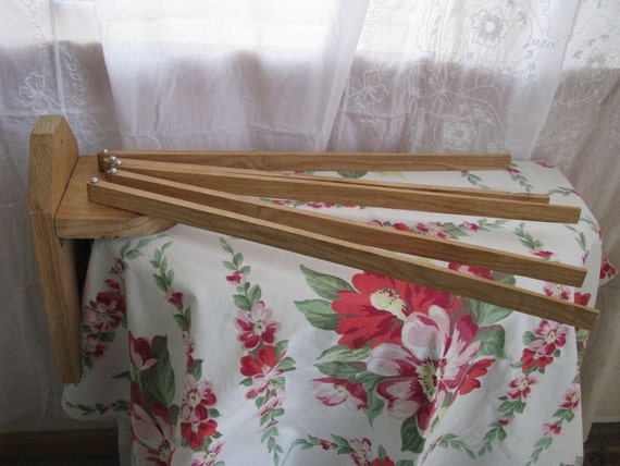 SALE - Vintage Wood Wall Clothes Drying Rack - French Farmhouse Kitchen