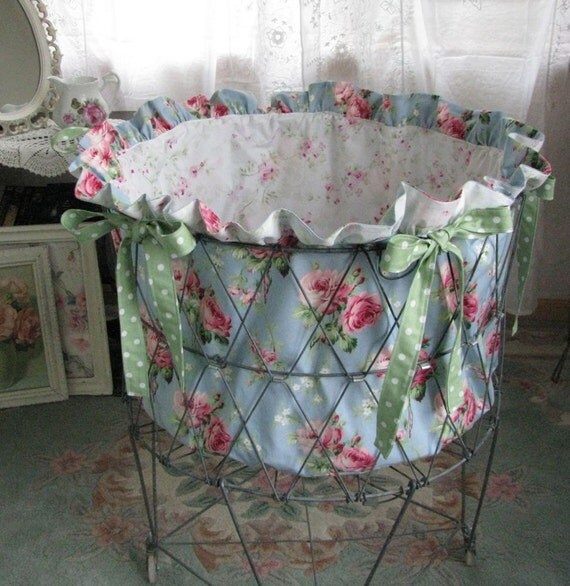 Reserved for Diana -SALE - Pink Blue Barefoot Roses French Laundry Basket Liner Shabby Cottage Chic - Treasury Item