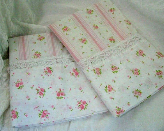 Vintage Pair Pillow Cases - Pink and White Floral and Stripe with Lace - Shabby Cottage Chic