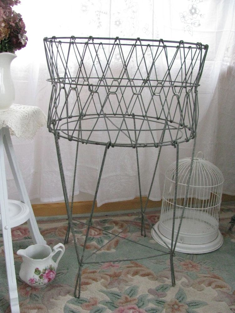 Vintage French Metal Wire Folding Laundry Basket Shabby