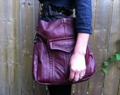 Med Tote in Deep Plum reclaimed leather