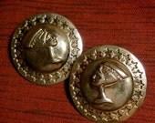 Cleopatra 1980s Vintage Bronze Pierced Earrings