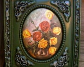 Shabby Chic Floral and Green Plaster All In One Wall Art 1974