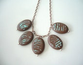 SALE! Brown statement necklace with a touch of teal, chynky style
