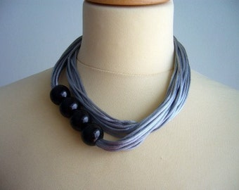 Grey silver Satin and colors necklace, multi strand necklace
