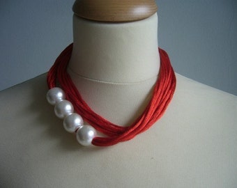 Red multistrand necklace with white pearls, multi strand necklace