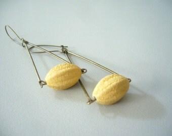 Yellow almond earrings
