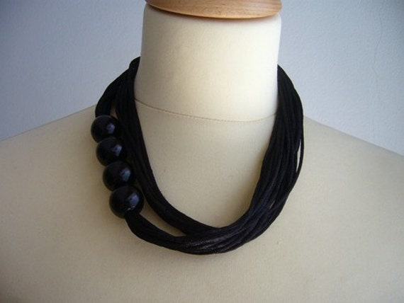 Totally black satin and beads necklace