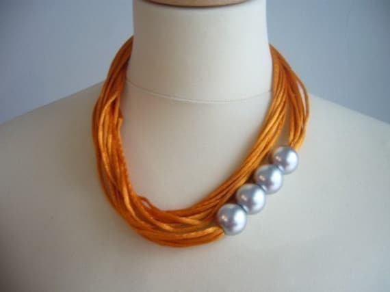 Orange Satin cord and colors necklace