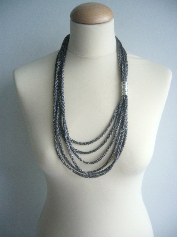 Black metallic  and silver tube necklace