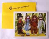 humorous sock monkey friendship Wizard of Oz style greeting card by Monkey Moments A19