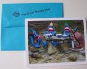 humorous southwestern theme sock monkey birthday card by Monkey Moments B11