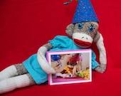 Monkey Moments sock monkey birthday card
