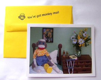 funny sock monkey Get Well Card by Monkey Moments A28