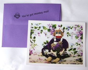 whimsical sock monkey Thank You card by Monkey Moments A2