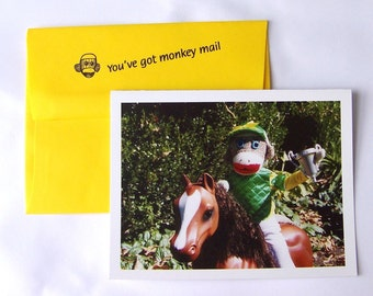 whimsical sock monkey Thank You card by Monkey Moments A14