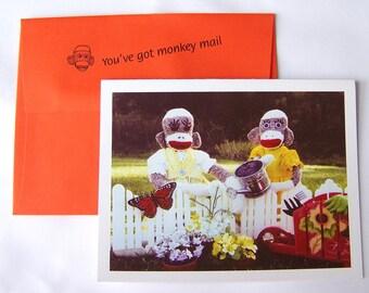 whimsical nostalgic sock monkey Friendship card by Monkey Moments A10