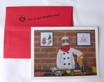 humorous Thinking of You card by Monkey Moments A27
