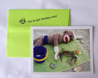 funny sock monkey sorry card by Monkey Moments A5