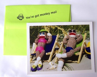 funny happy  thinking of you greeting card by Monkey Moments A13