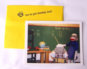 humorous teacher appreciation  card by Monkey Moments A23