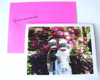 humorous sock monkey wedding card by Monkey Moments W2