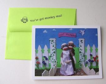 funny sock monkey wedding card by Monkey Moments W5
