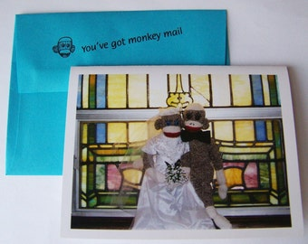 unique and funny sock monkey wedding card by Monkey Moments W1