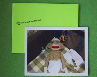 Monkey Moments Baby Congratulations Greeting Card