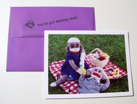 whimsical sock monkey love card by monkey moments L12