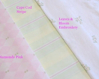 HOUSE INC Cape Cod lime and pink Stripe cotton fabric RETIRED