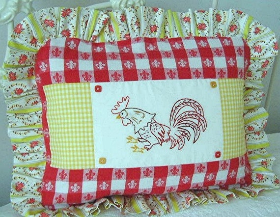Vintage Fabric Pillow - French Country Embroidered Rooster - Yellow and Red