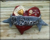50% Off. Je t'aime Paper Mache Heart Brooch, Clever Valentine