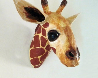 Paper Mache Giraffe Head, Giraffe Faux Taxidermy, Giraffe Tropy Head, Made to Order